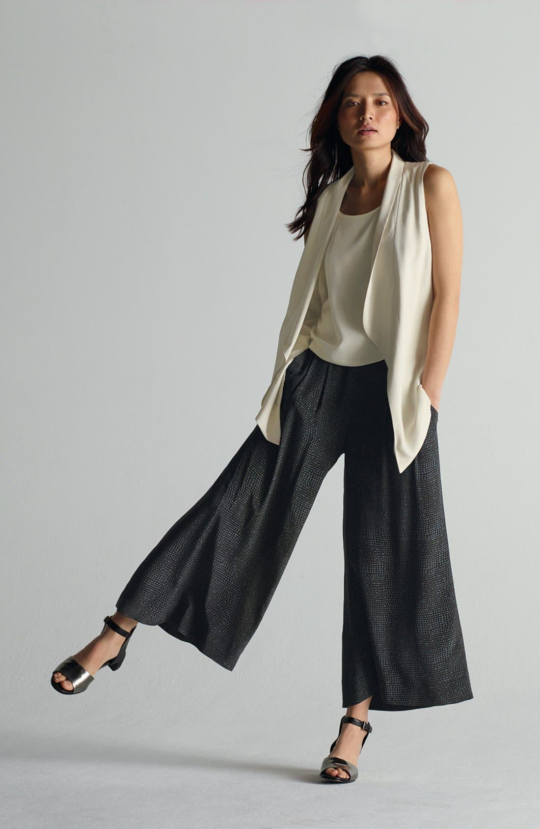 Alternate Image 4  - Eileen Fisher Shawl Collar Long Vest (Regular & Petite)