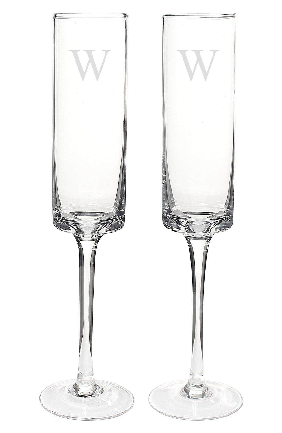 Alternate Image 2  - Cathy's Concepts 'Contemporary' Monogram Champagne Flutes (Set of 2)