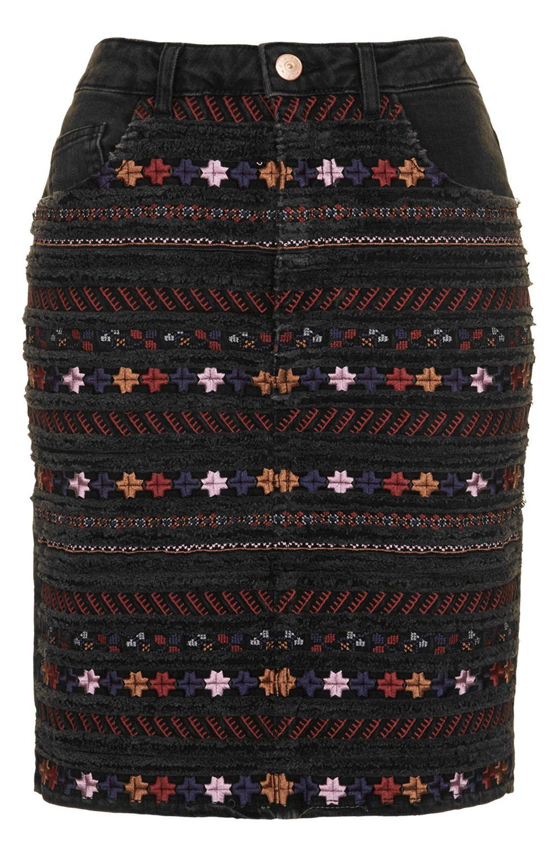 Alternate Image 3  - Topshop Moto Embroidered Denim Pencil Skirt