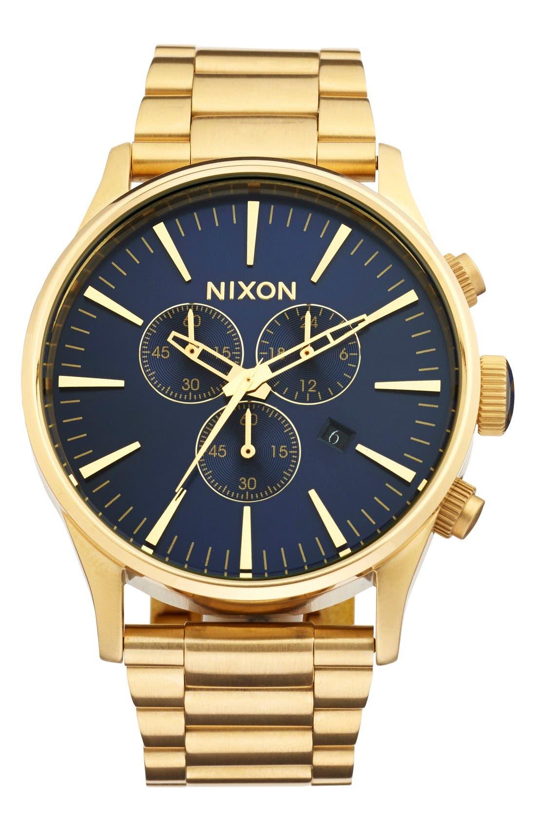 'The Sentry' Chronograph Bracelet Watch, 42mm,                         Main,                         color, Gold/ Blue