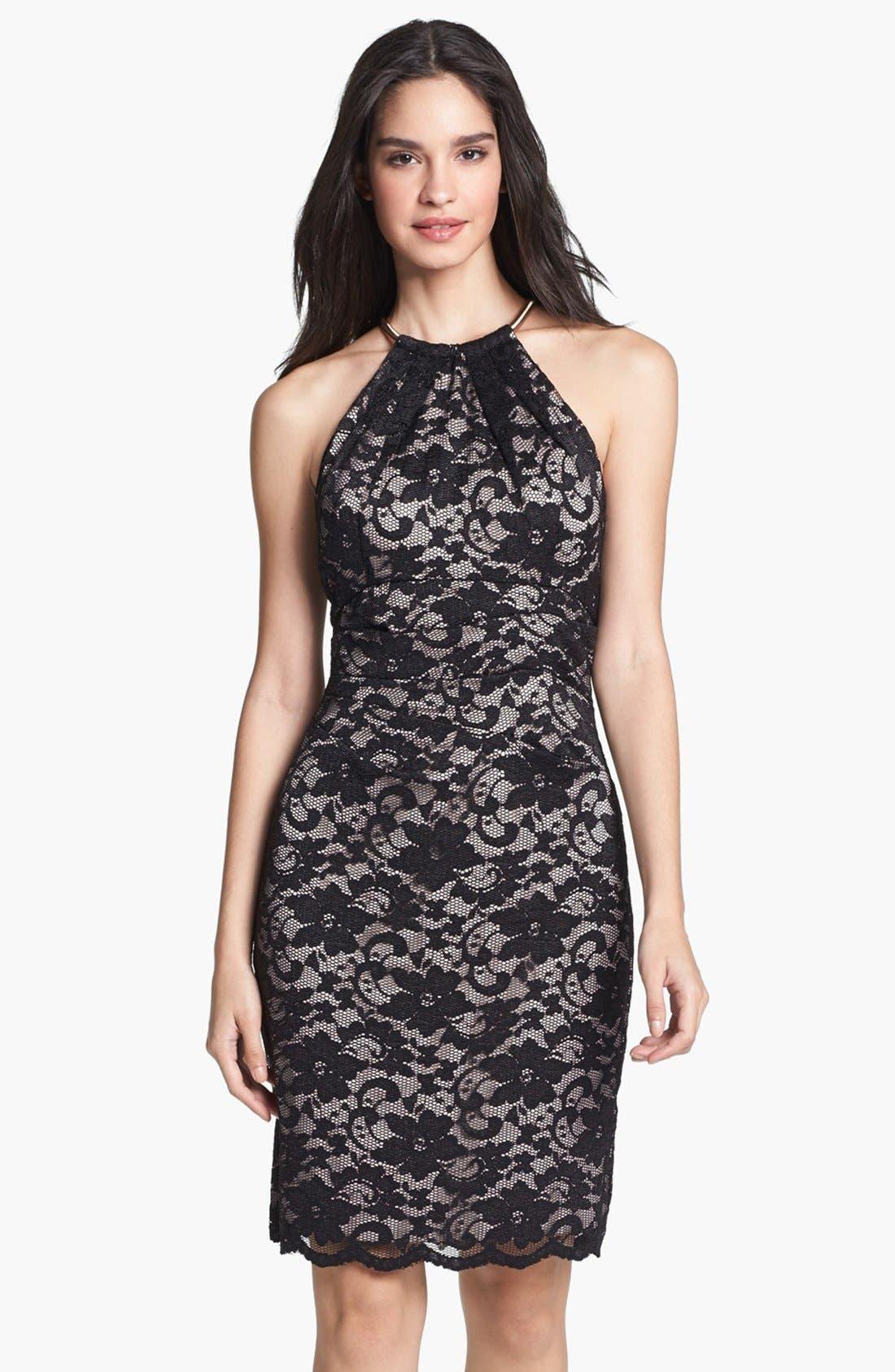 Main Image - Eliza J Lace Metal Neckline Lace Sheath Dress