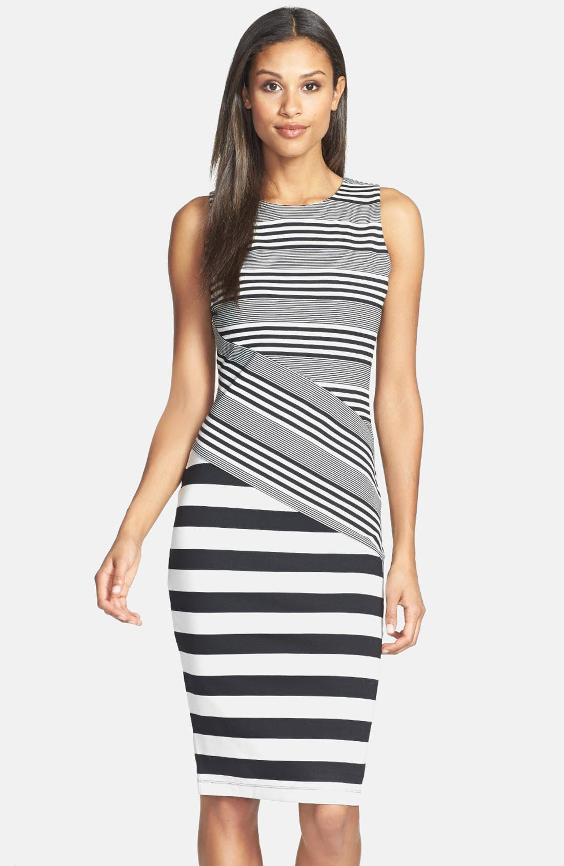 Main Image - Felicity & Coco Stripe Ponte Midi Dress (Nordstrom Exclusive)