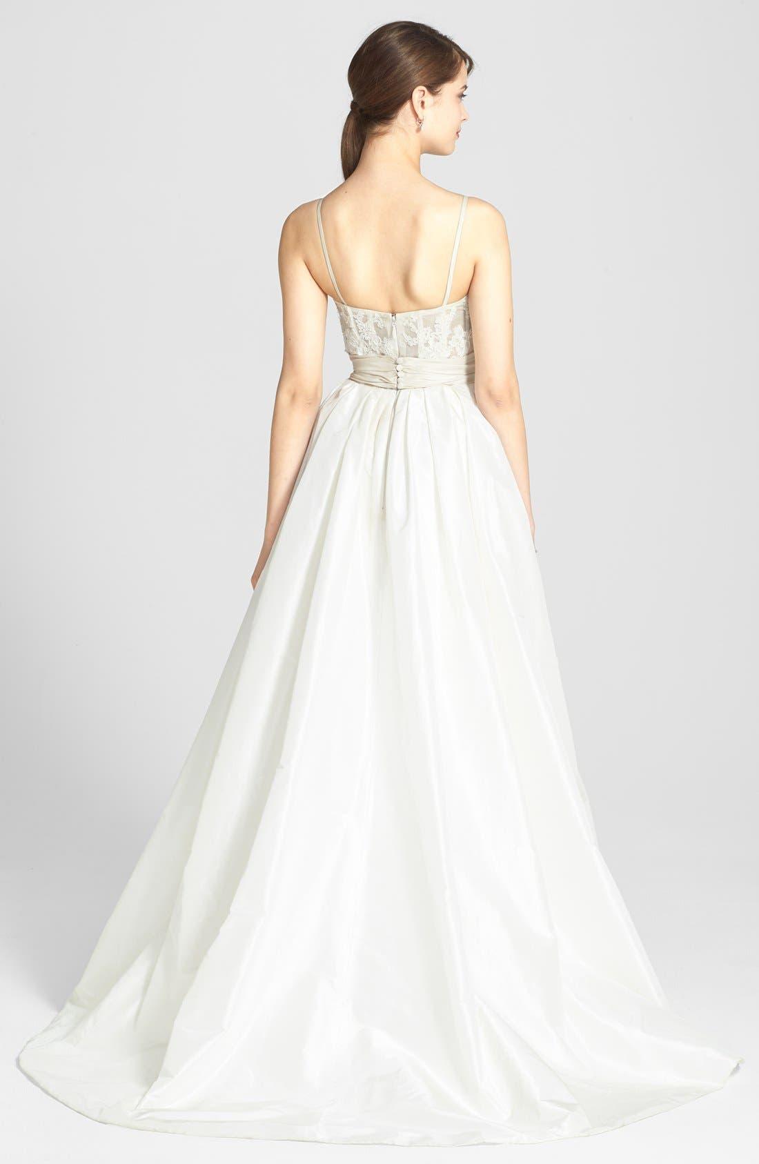 Alternate Image 2  - Amsale Cameron Lace Appliqué Corset Bodice Silk Taffeta Dress