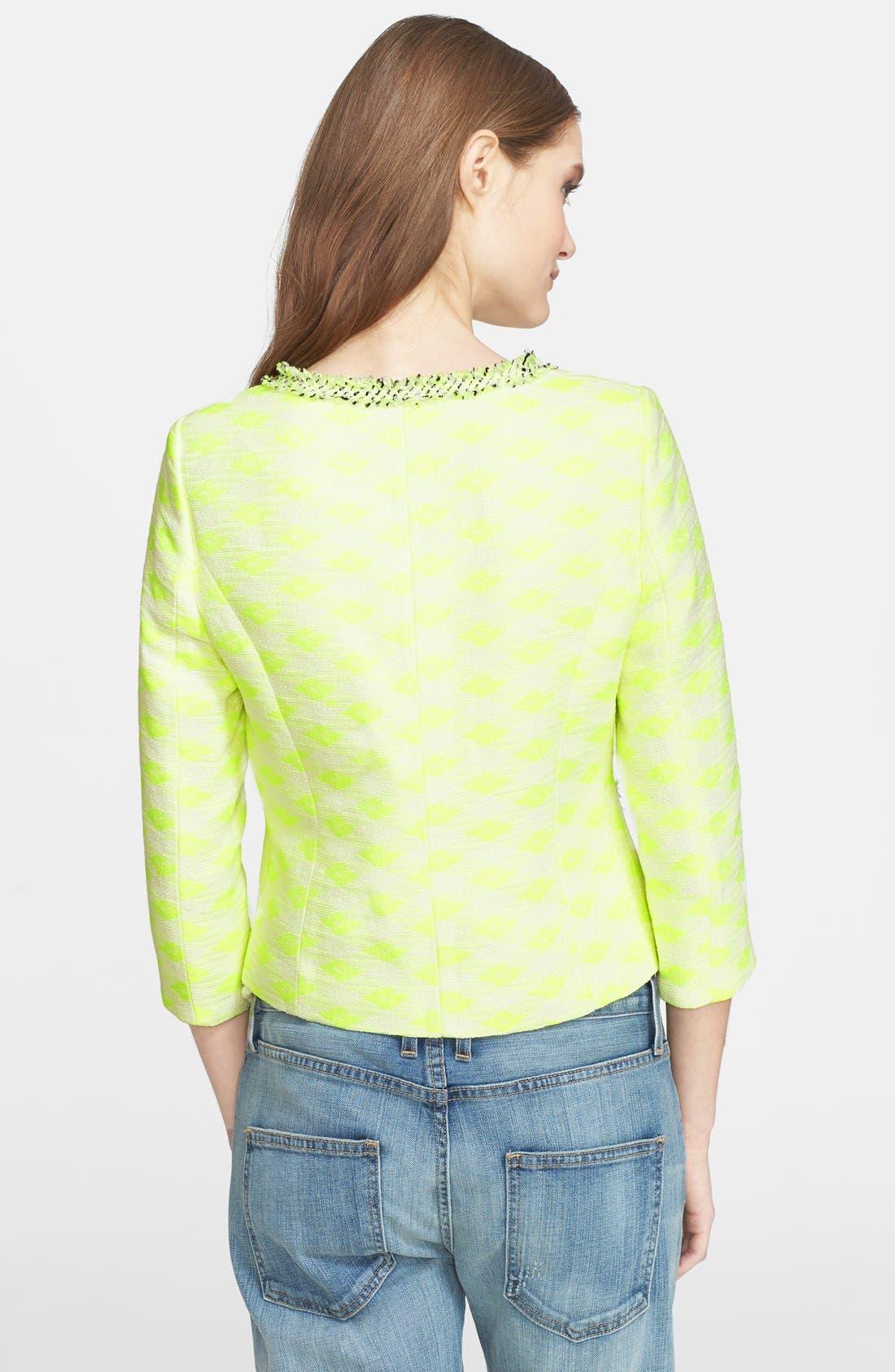 'Jana' Diamond Woven Jacket,                             Alternate thumbnail 2, color,                             Neon Yellow