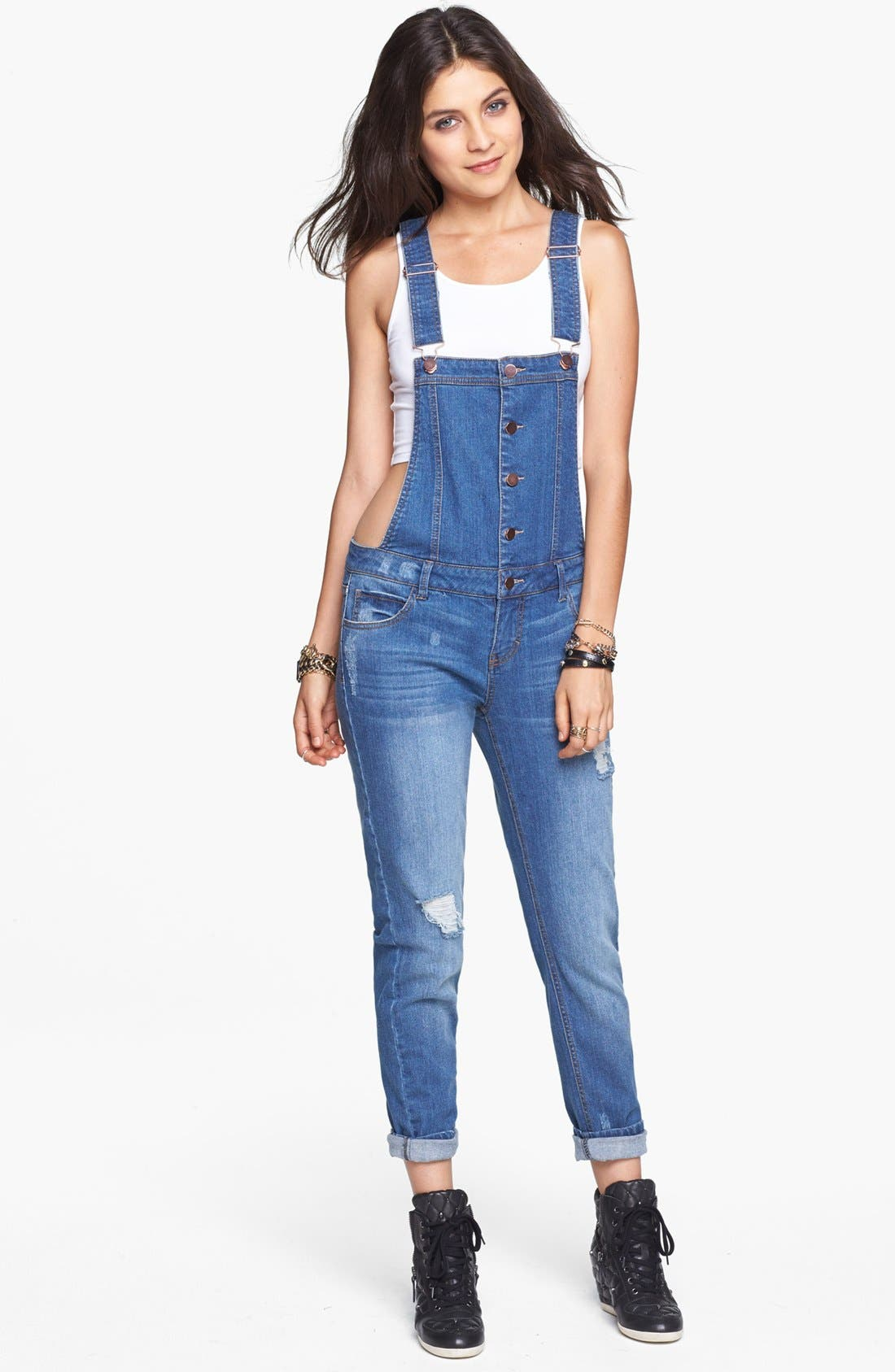 Main Image - Fire Button Front Denim Overalls