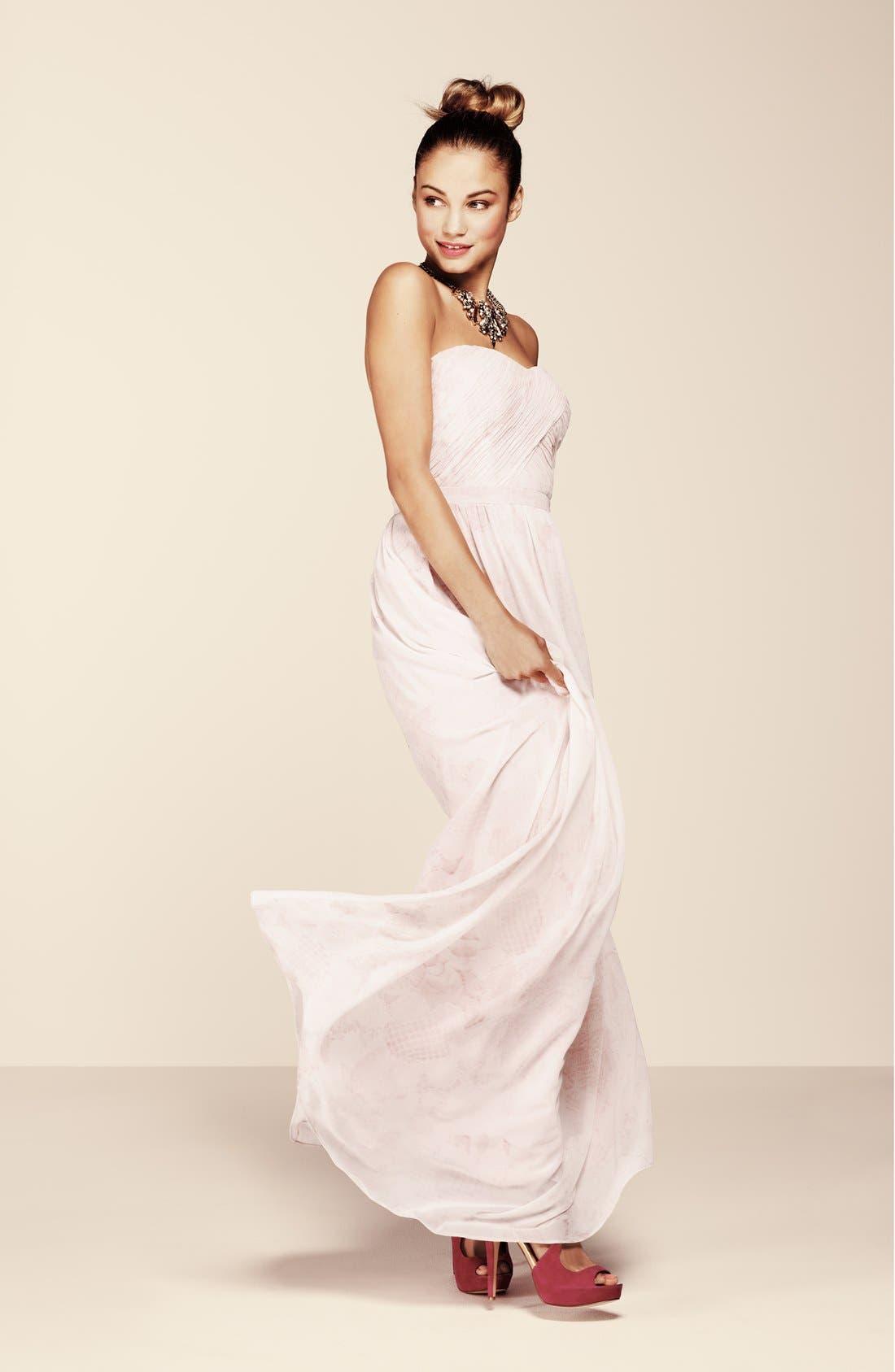 Alternate Image 4  - ERIN erin fetherston 'Rose' Print Chiffon Strapless Gown