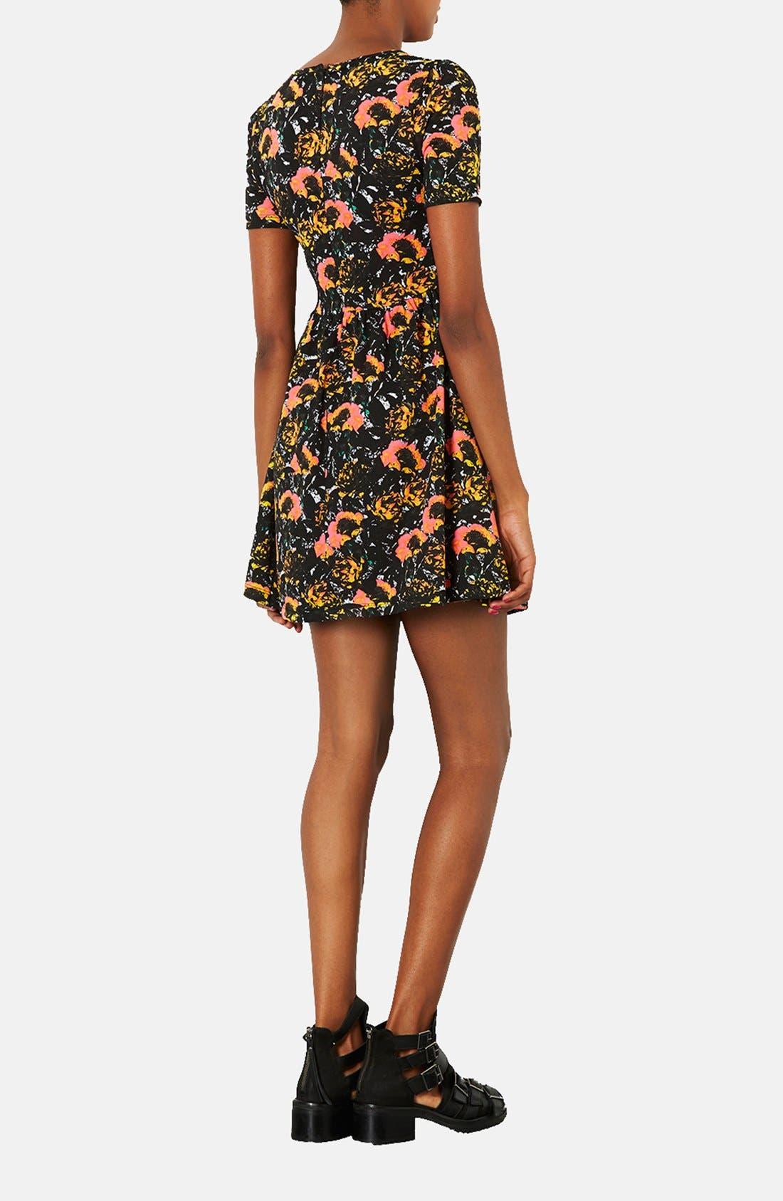Alternate Image 2  - Topshop 'Ochre Poppy' Skater Dress