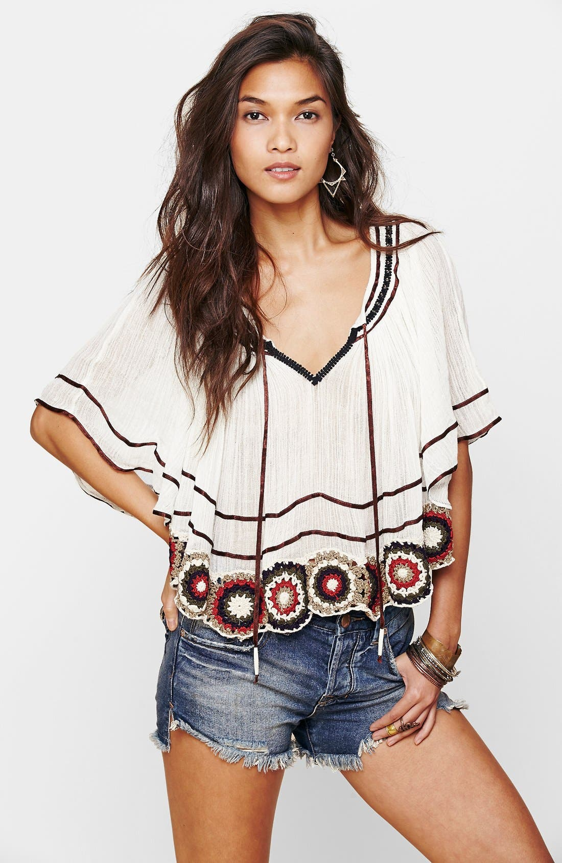 Main Image - Free People 'The Way She Moves' Crocheted Cotton Top