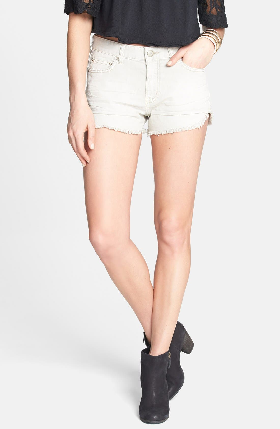 Main Image - Free People 'Dolphin' Cutoff Denim Shorts (Chalk)