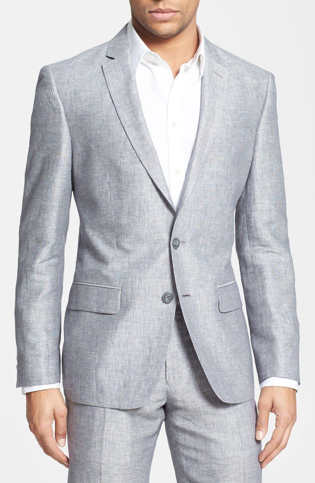 Alternate Image 1 Selected - John Varvatos Star USA Stripe Linen & Cotton Sport Coat