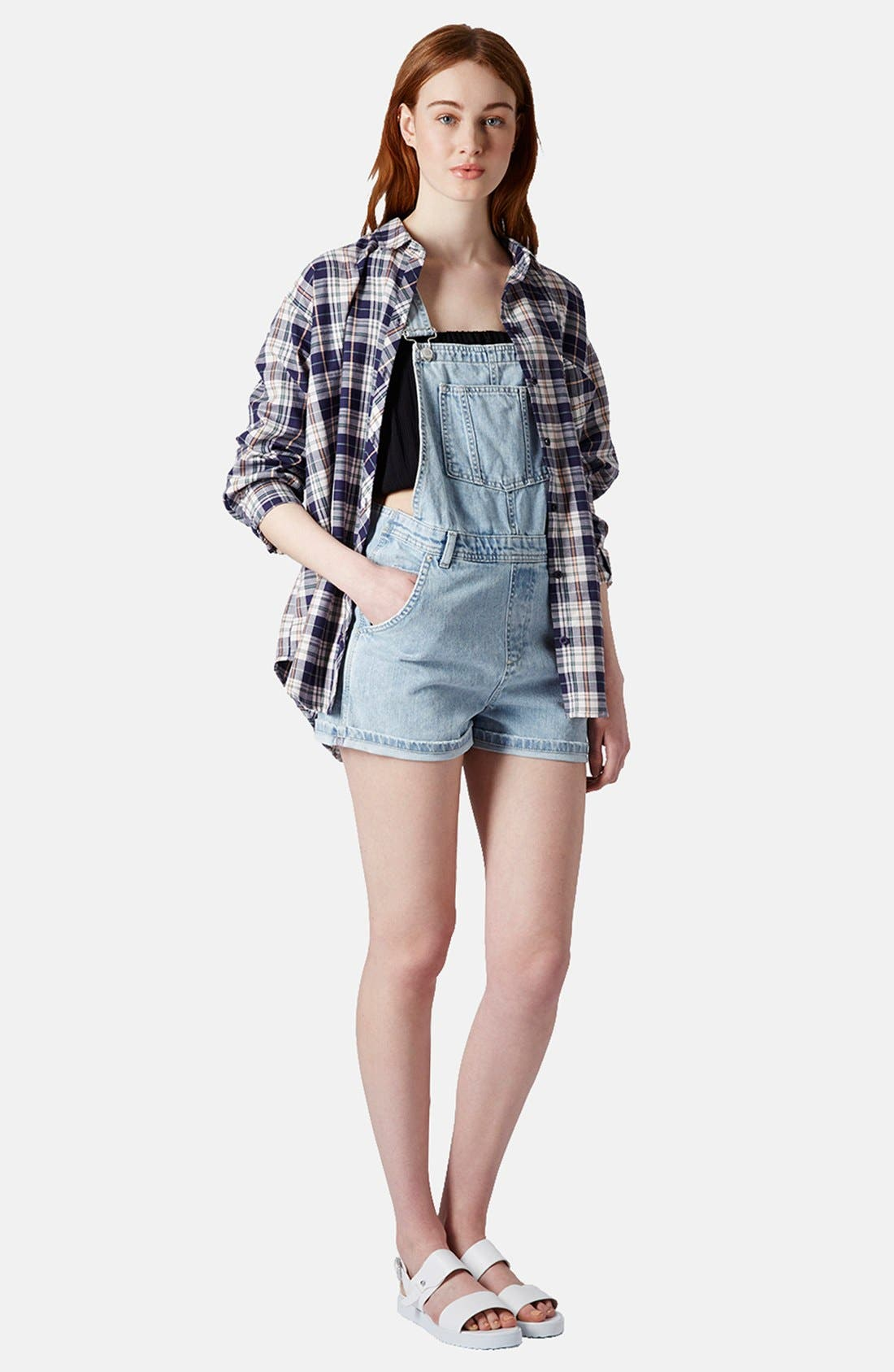 Alternate Image 5  - Topshop Moto Short Overalls
