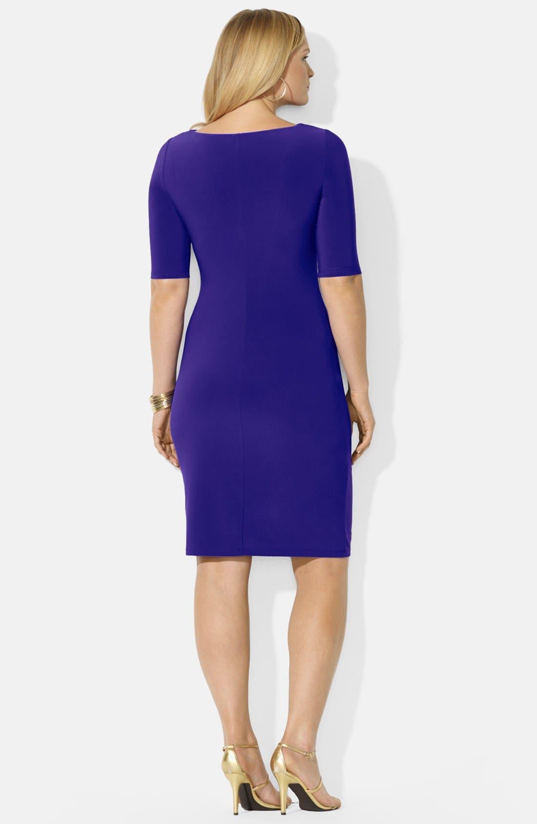 Alternate Image 2  - Lauren Ralph Lauren Cowl Neck Matte Jersey Dress (Plus Size)
