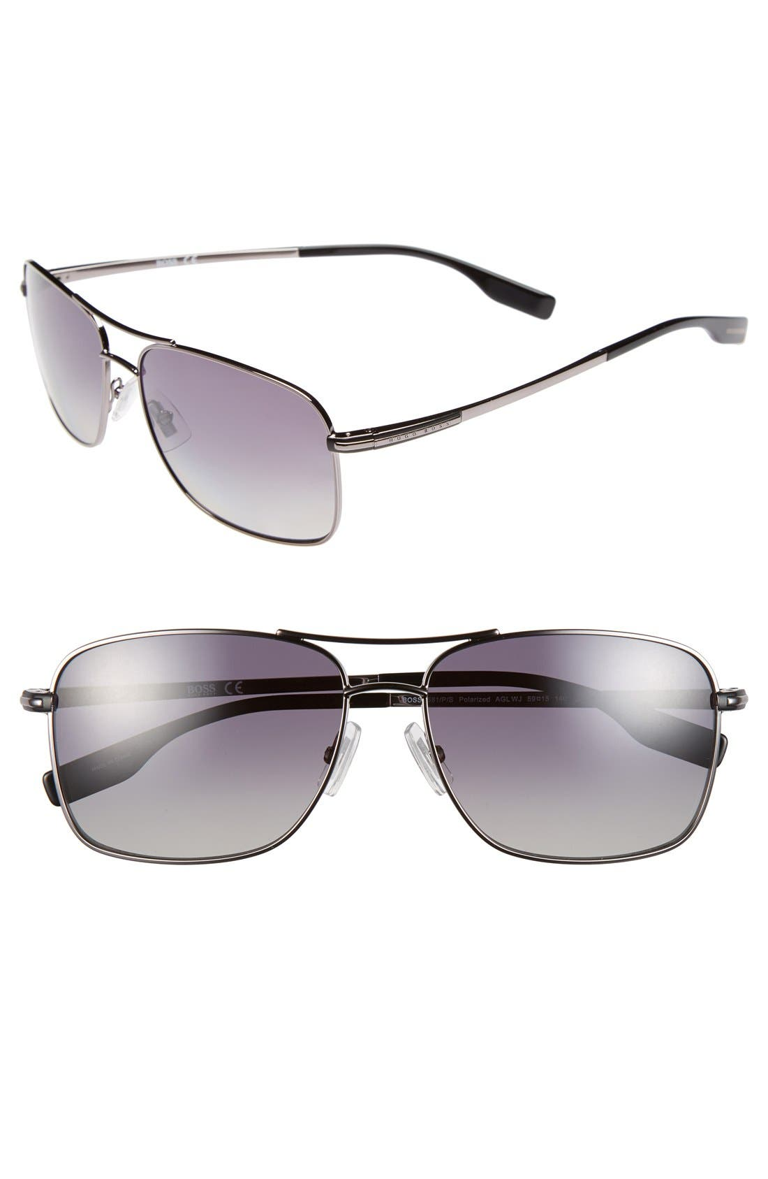 Alternate Image 1 Selected - BOSS 59mm Polarized Navigator Sunglasses
