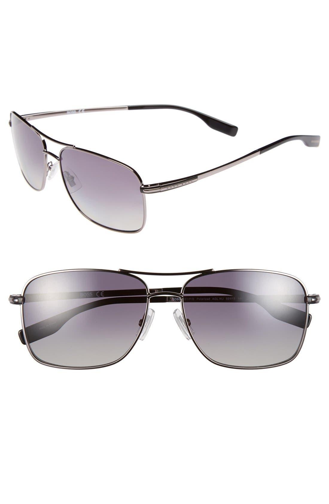 59mm Polarized Navigator Sunglasses,                         Main,                         color, Dark Ruthenium