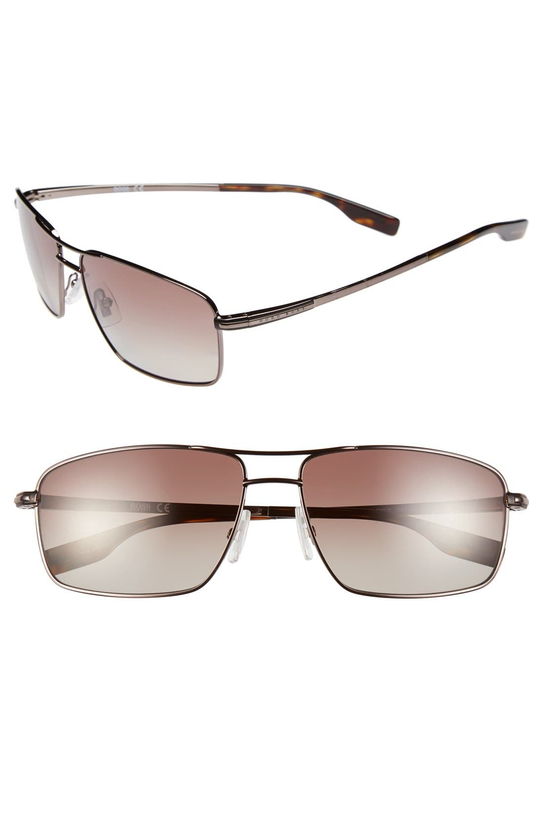 59mm Polarized Navigator Sunglasses,                             Main thumbnail 1, color,                             Dark Ruthenium