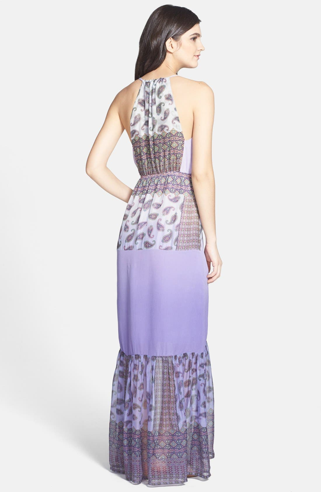 Alternate Image 2  - Gypsy 05 Print Chiffon Panel Silk Maxi Dress