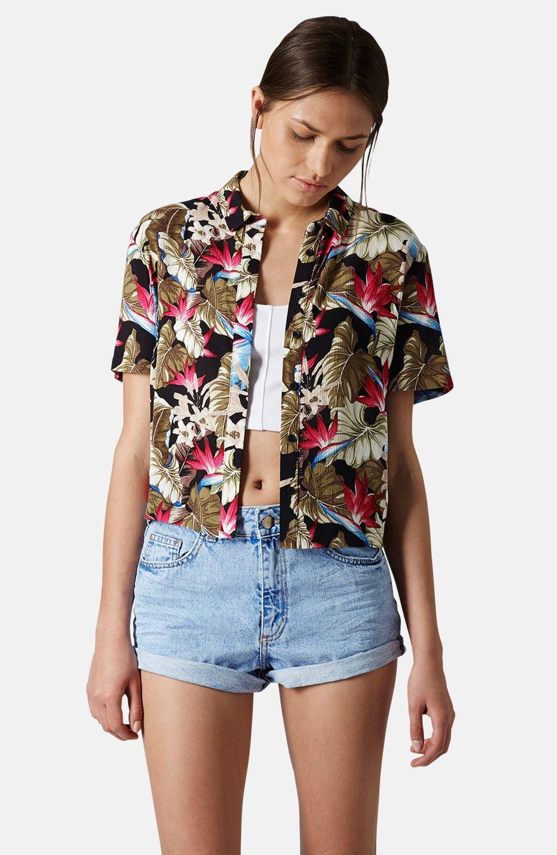 Alternate Image 1 Selected - Topshop Leaf Print Shirt