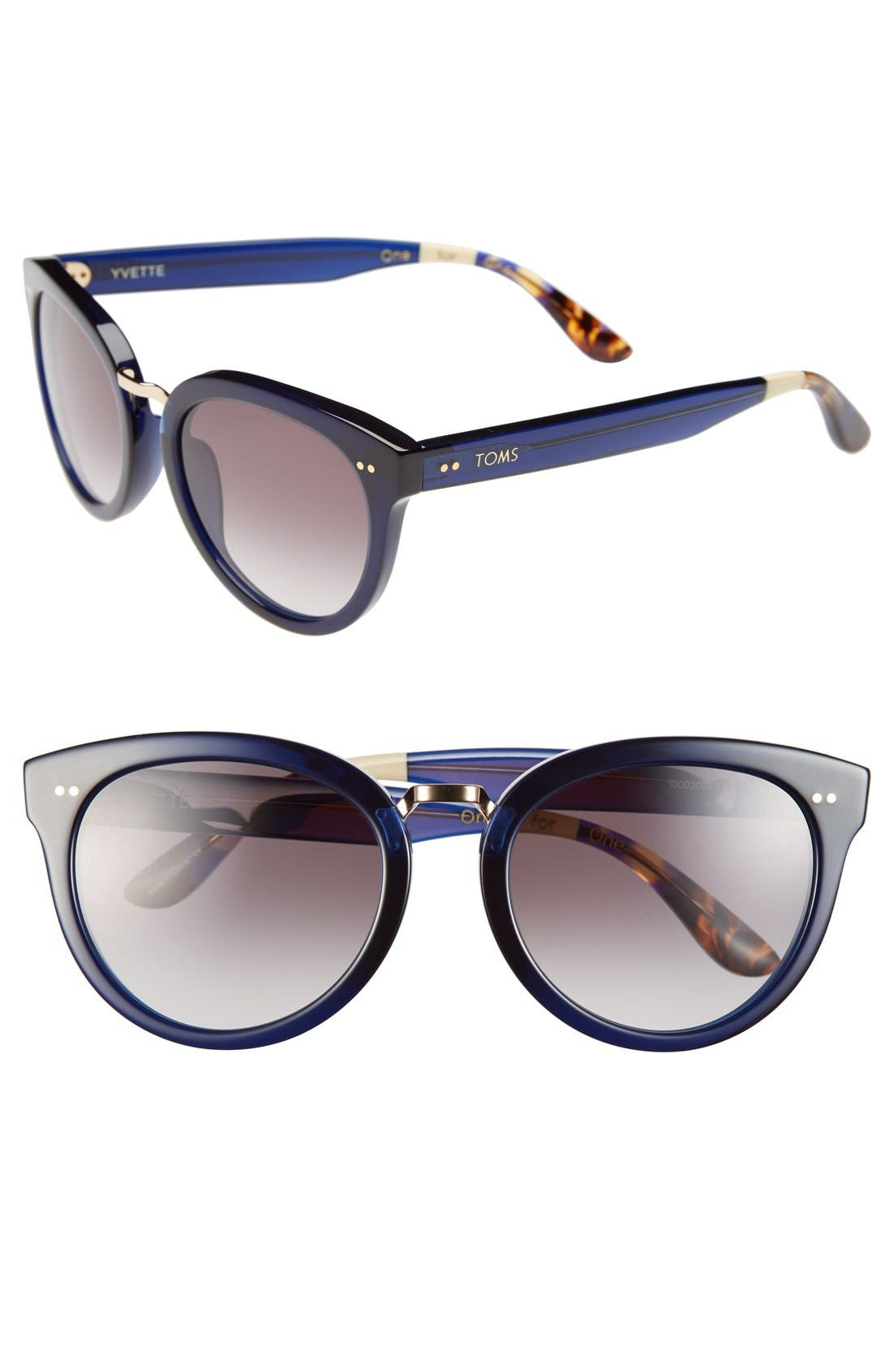 'Yvette' 52mm Sunglasses,                             Main thumbnail 1, color,                             Indigo Crystal