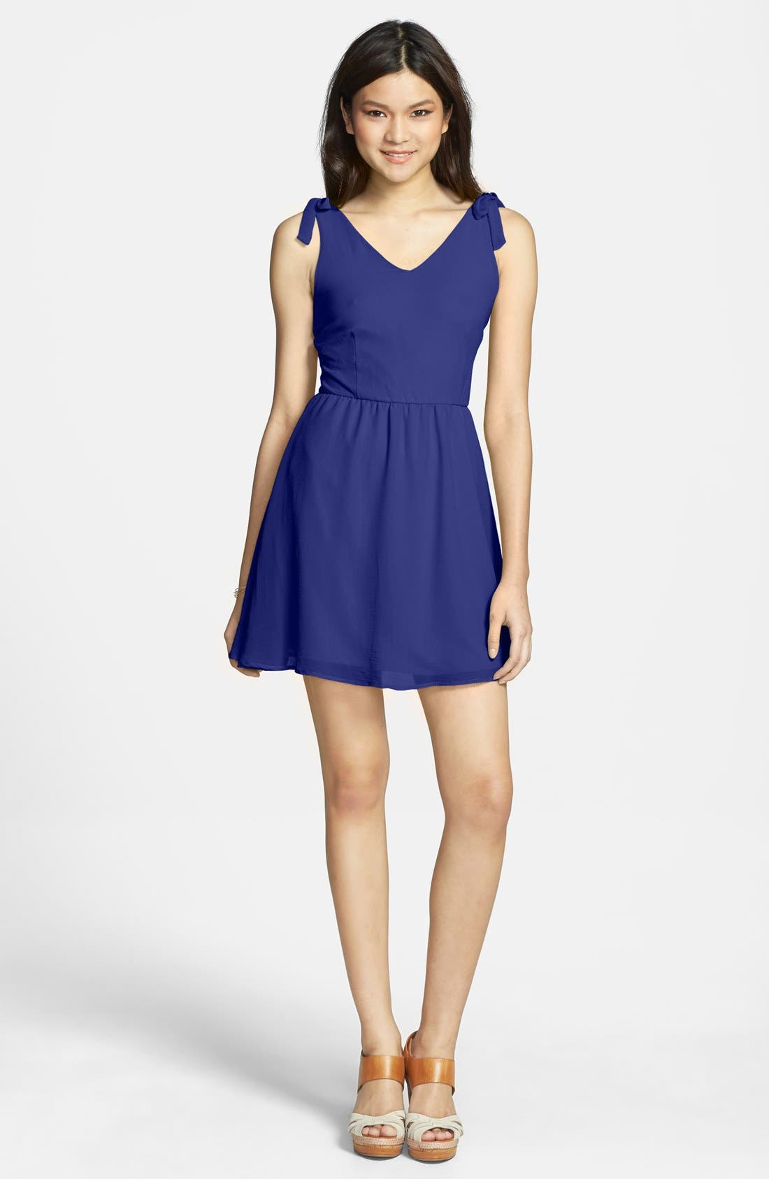 Main Image - dee elle Bow Detail V-Back Neon Dress (Juniors)