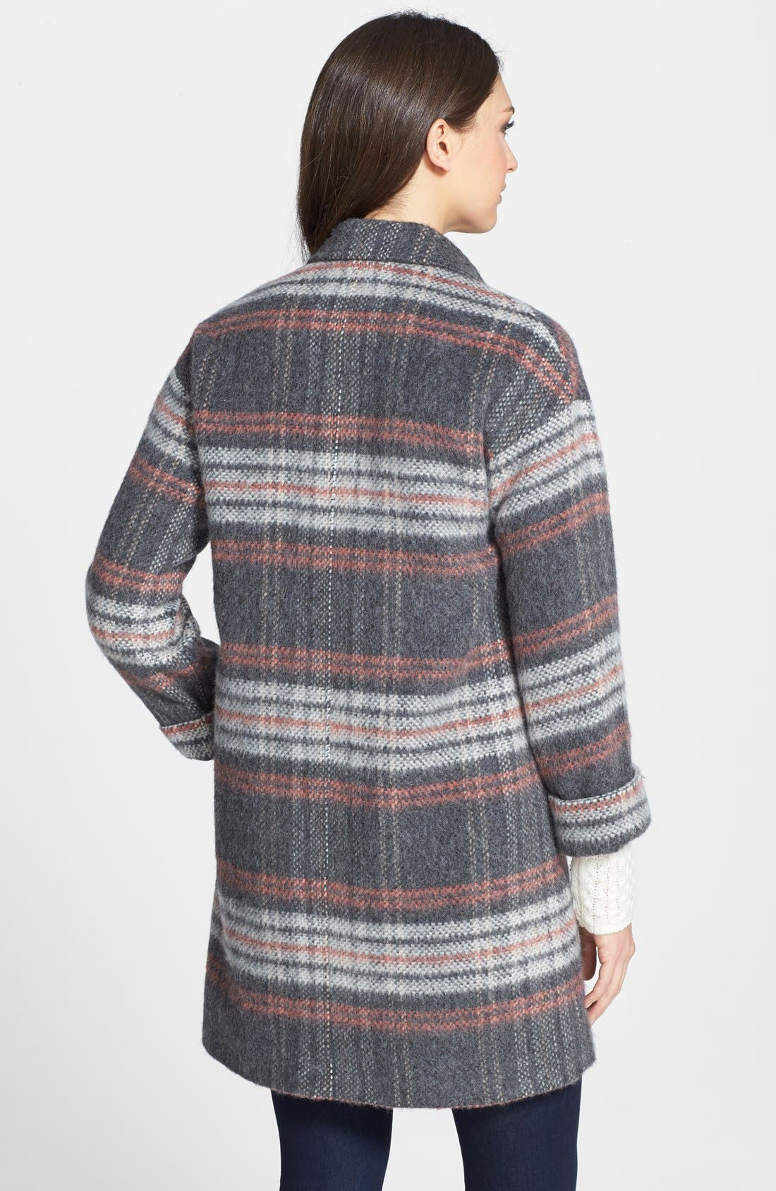 Plaid Coat,                             Alternate thumbnail 2, color,                             Pale Grey/ Pink