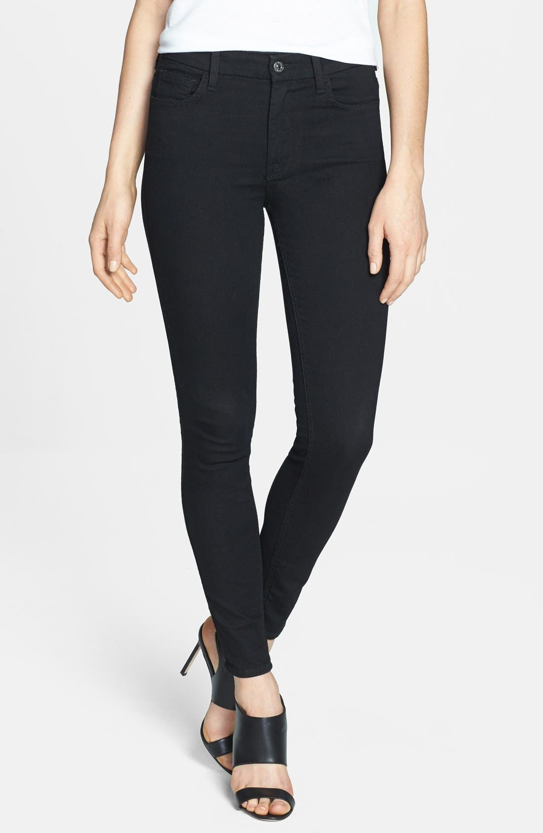 Main Image - 7 For All Mankind® High Rise Ankle Skinny Jeans (Elasticity Black)