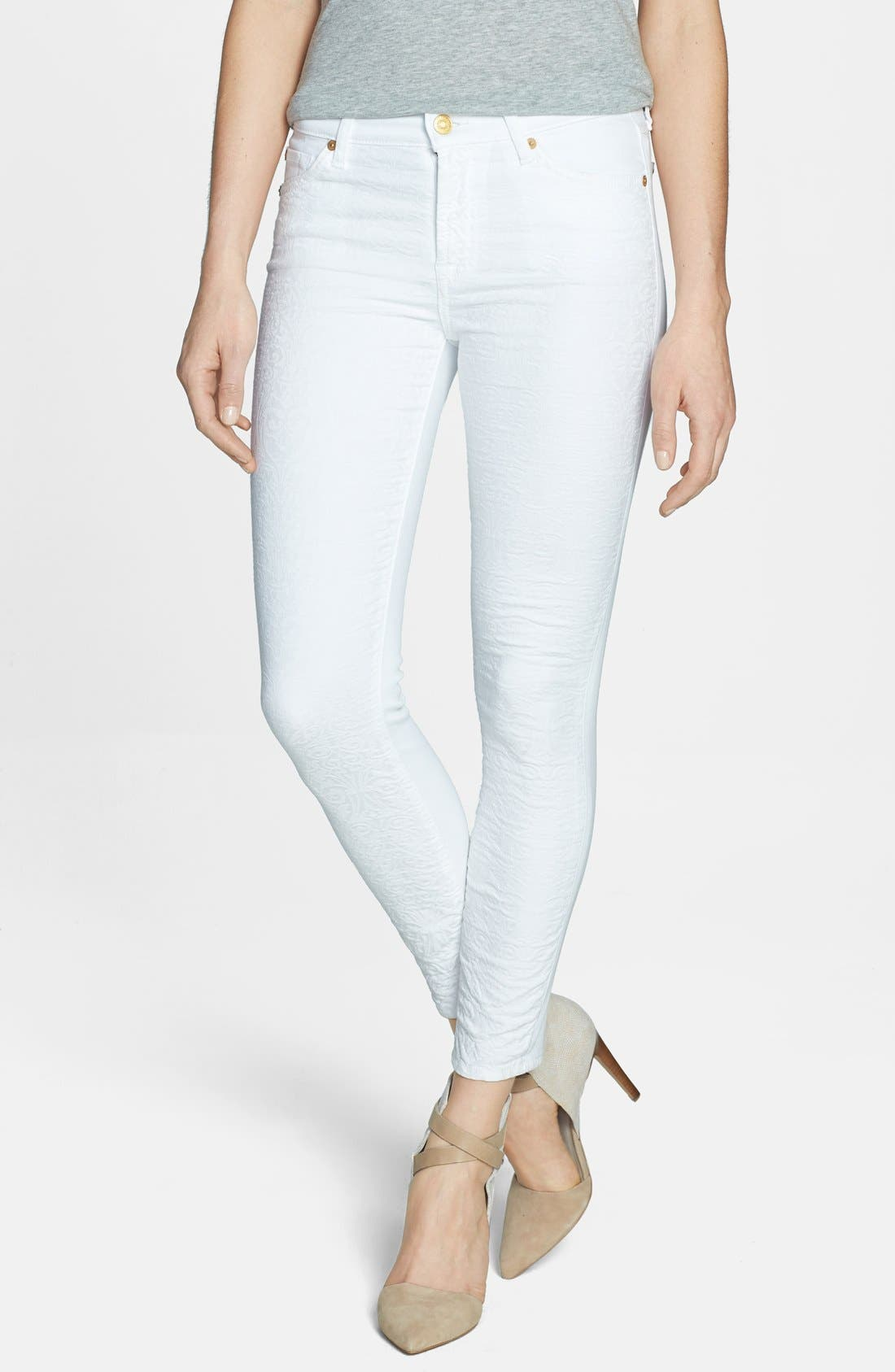 Main Image - 7 For All Mankind® Textured Front Skinny Jeans (White Royal Jacquard)