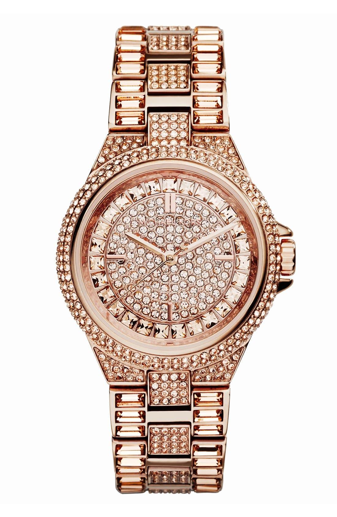 Main Image - Michael Kors 'Mini Camille' Crystal Encrusted Bracelet Watch, 33mm