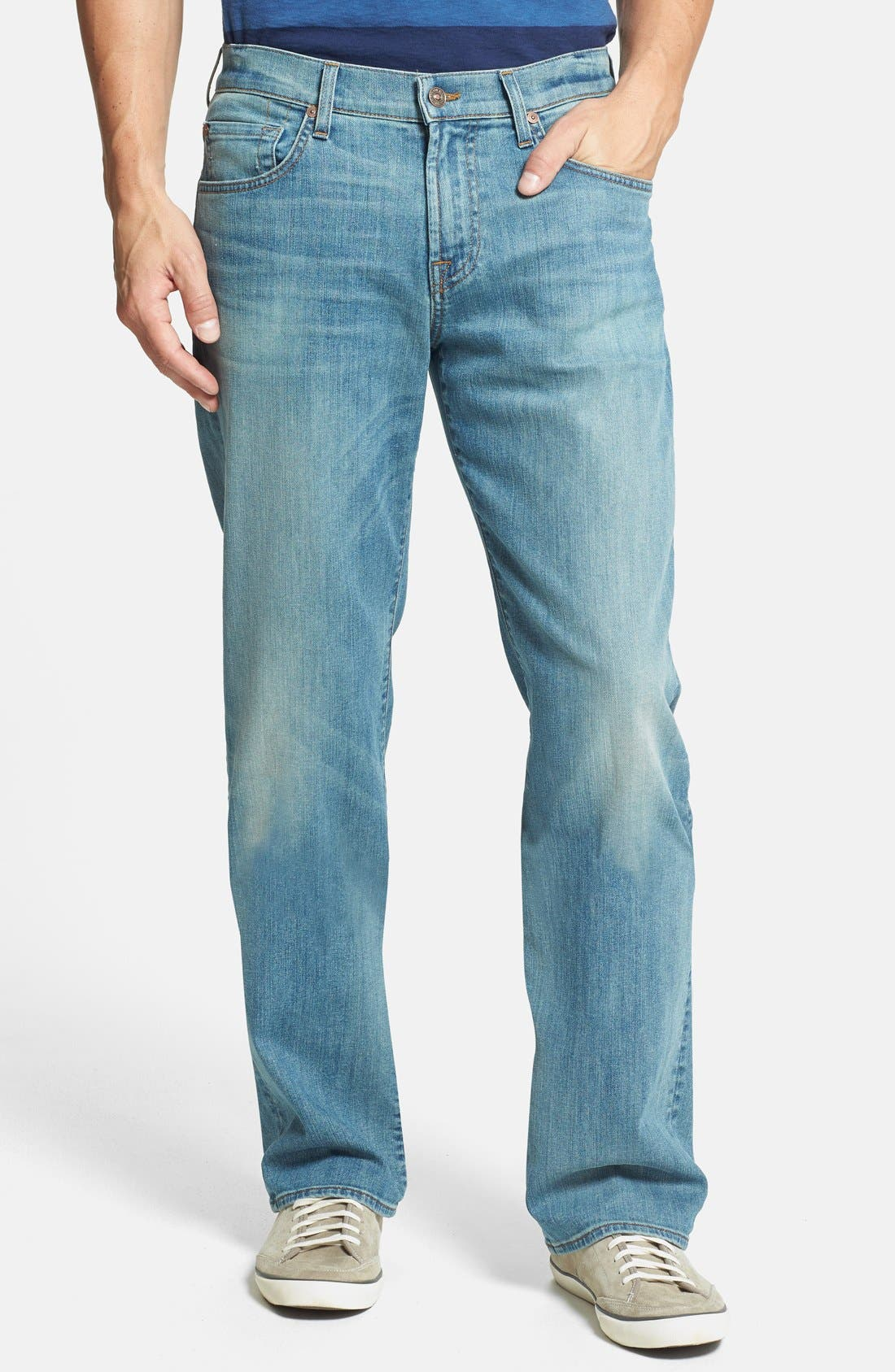 Alternate Image 1 Selected - 7 For All Mankind® 'Austyn' Relaxed Straight Leg Jeans (Authentic Vintage Blue)