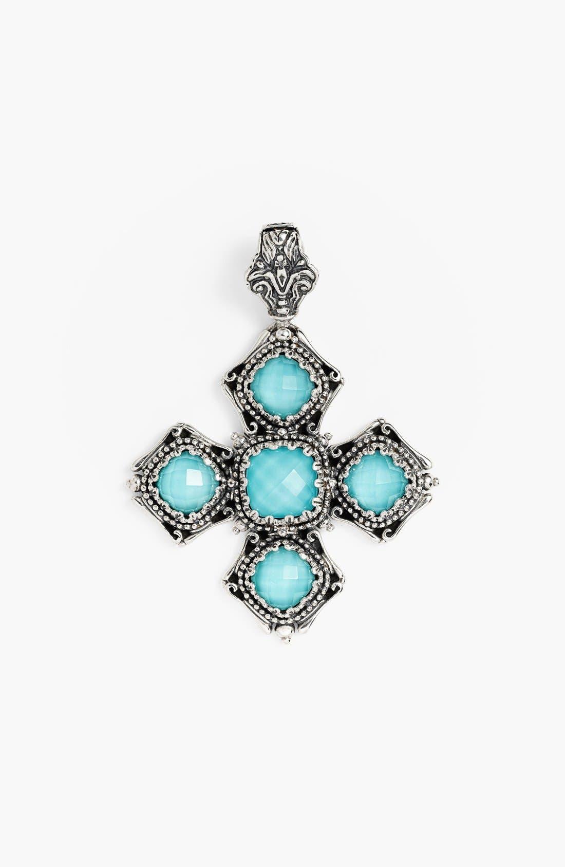 'Aegean' Cross Pendant,                         Main,                         color, Silver/ Turquoise