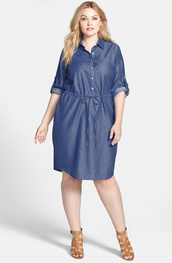 Calvin Klein Roll Sleeve Chambray Shirtdress Plus Size Nordstrom