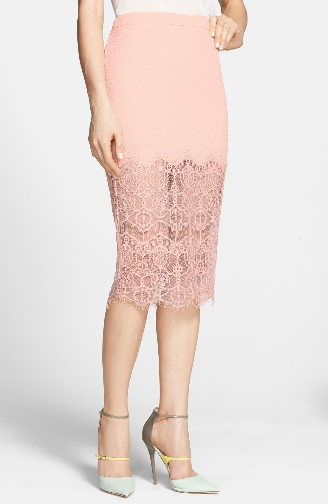 Alternate Image 1 Selected - ASTR Textured Lace Hem Pencil Skirt