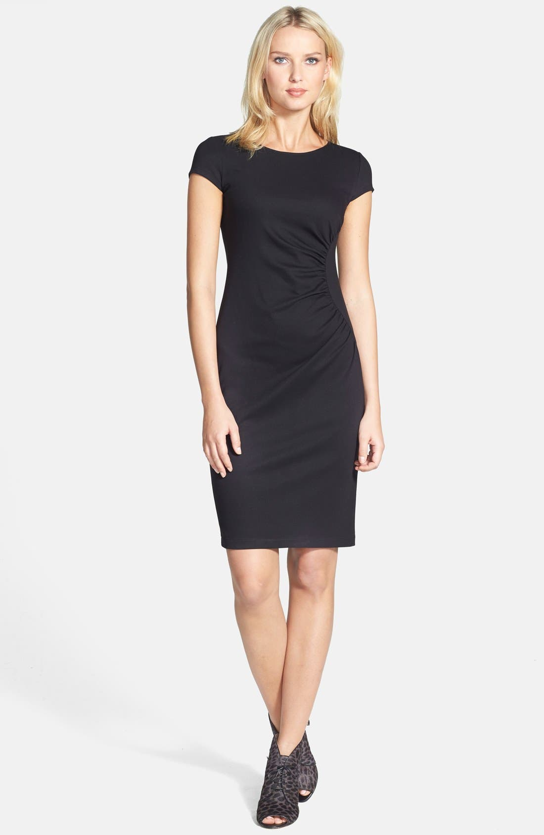 Main Image - Lafayette 148 New York Cap Sleeve Shirred Side Dress (Regular & Petite)