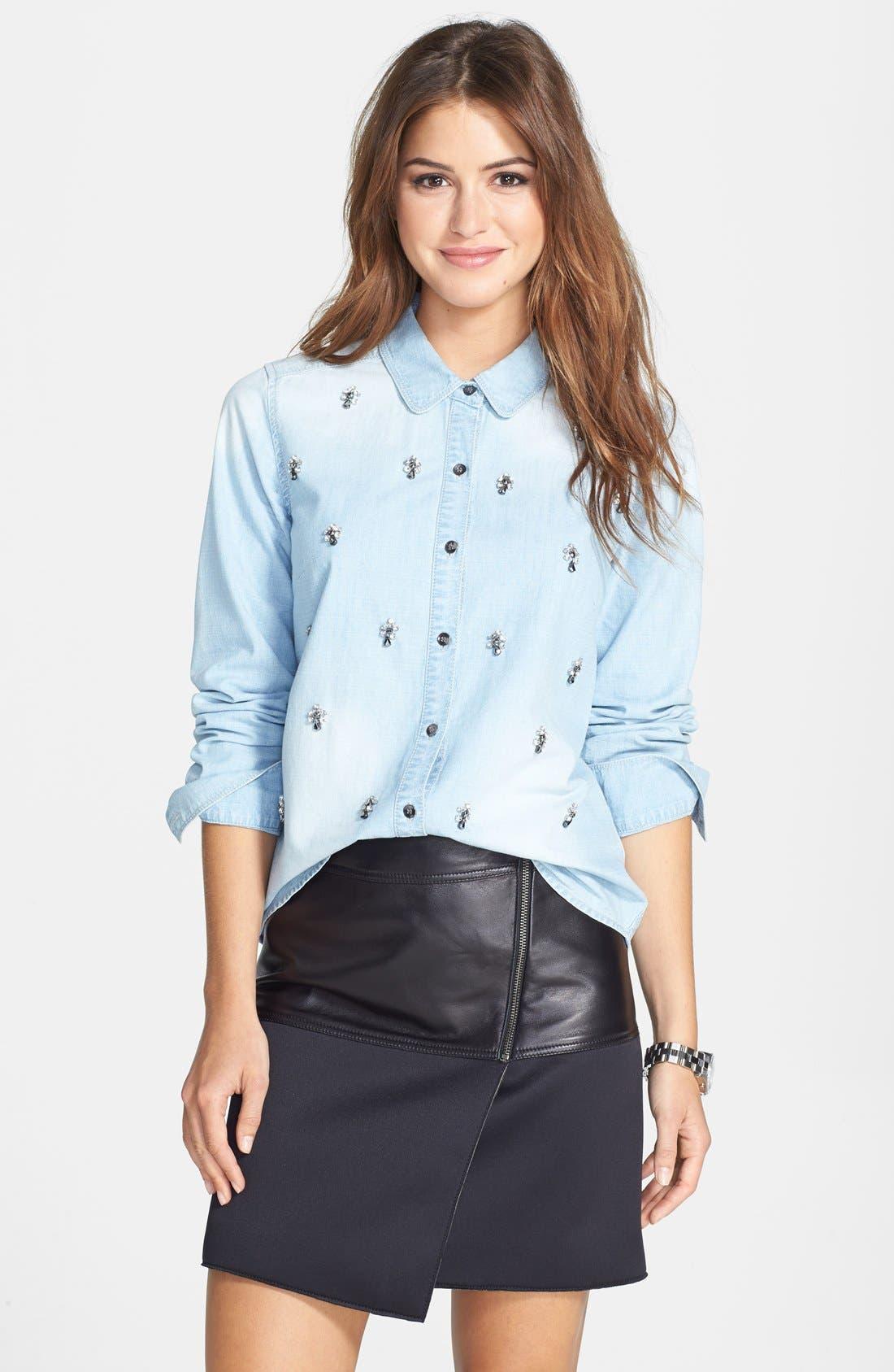 Alternate Image 4  - Halogen® Embellished Denim Shirt (Regular & Petite)