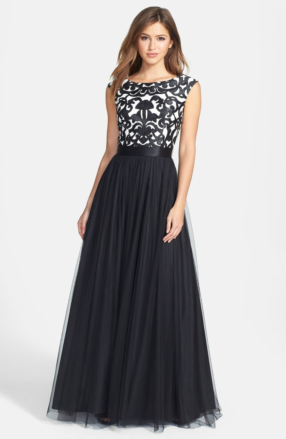 Alternate Image 1 Selected - Aidan Mattox Embroidered Bodice Mesh Ballgown