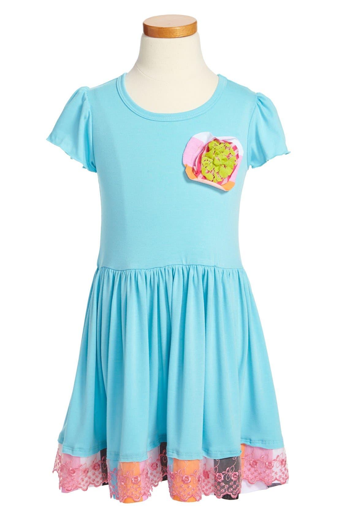 Main Image - Twirls & Twigs Contrast Ruffle Dress (Little Girls & Big Girls)