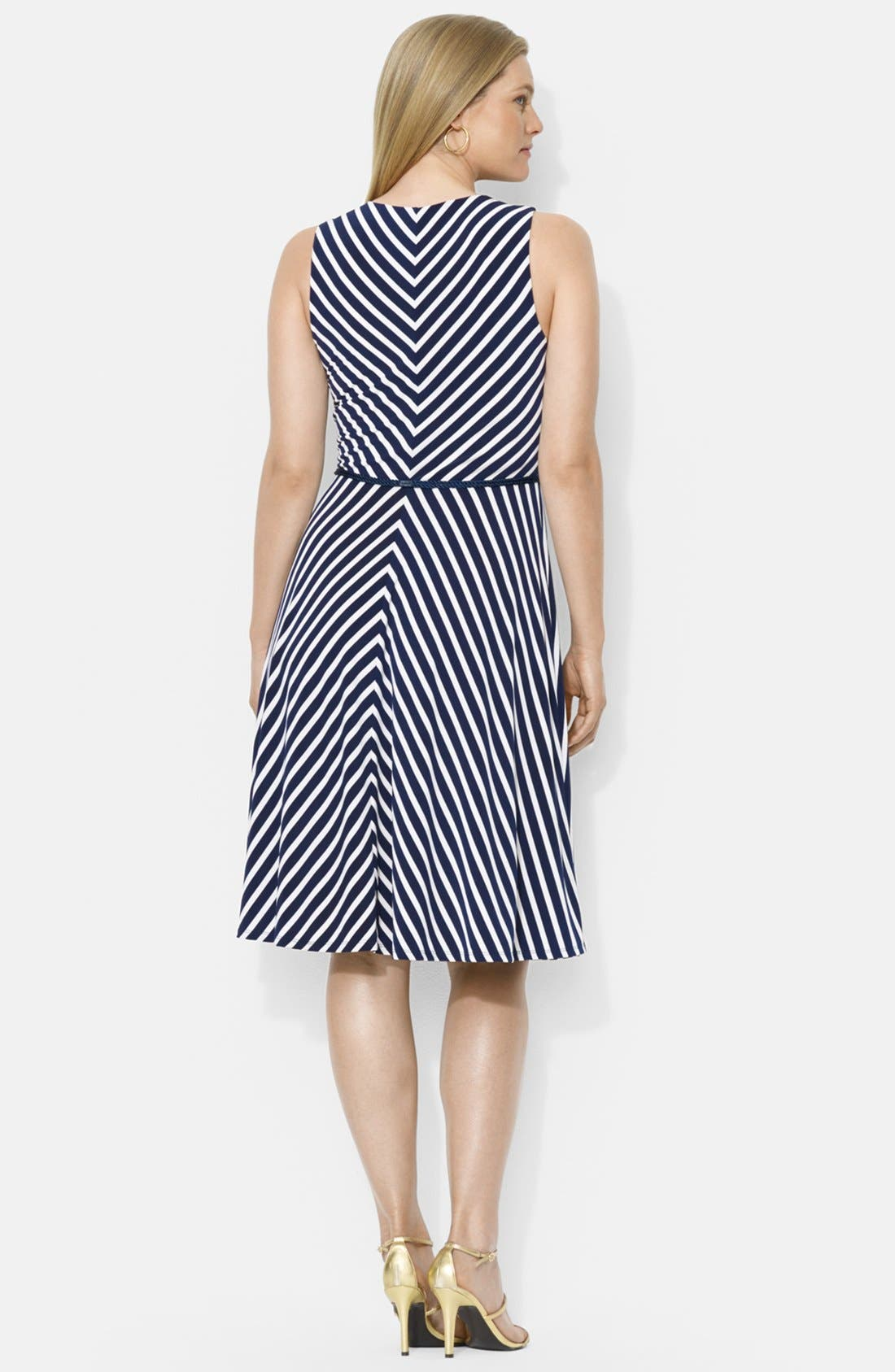 Alternate Image 2  - Lauren Ralph Lauren Belted Stripe Jersey Dress (Plus Size)