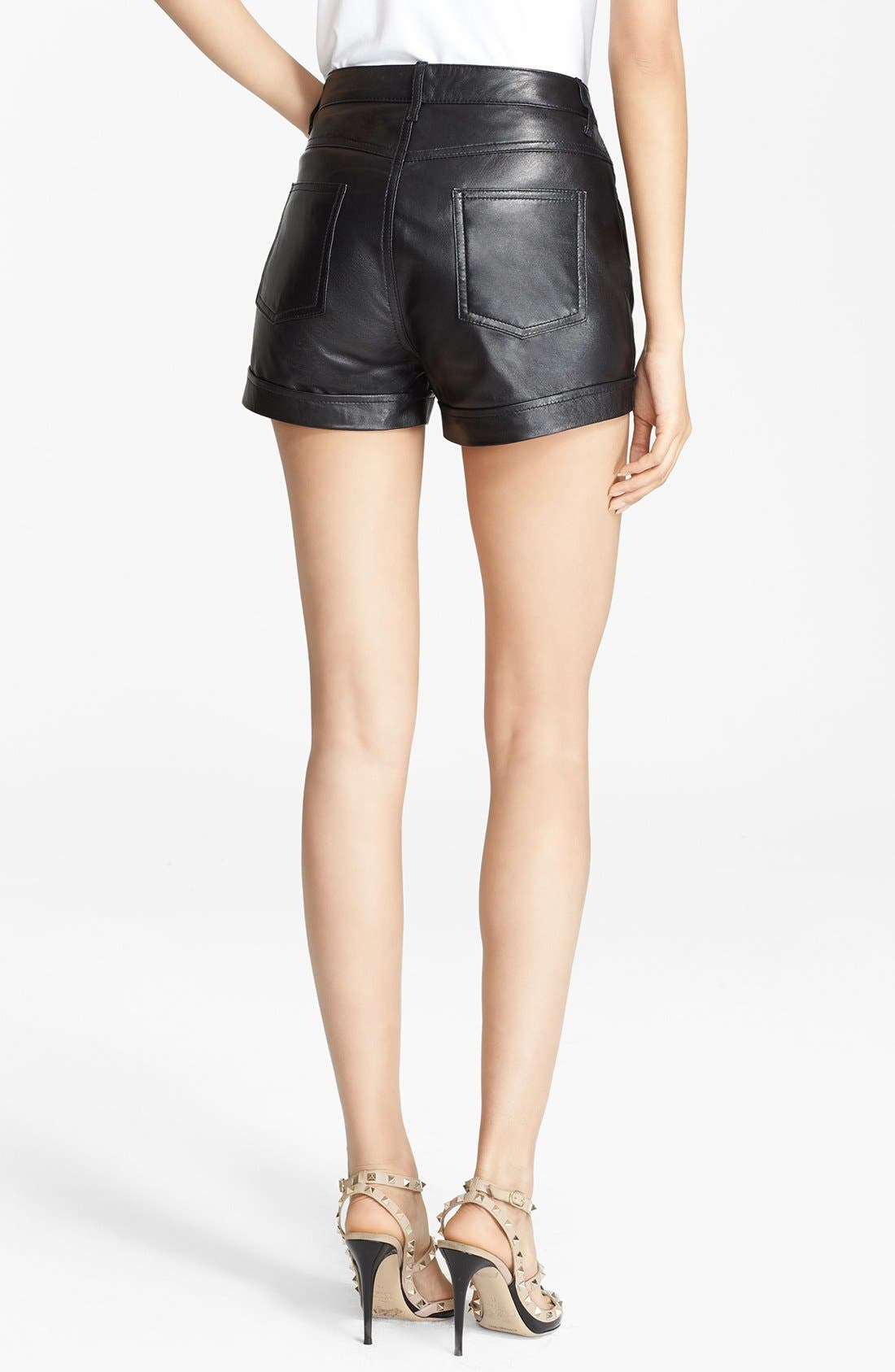 Alternate Image 2  - RED Valentino Cuff Leather Shorts