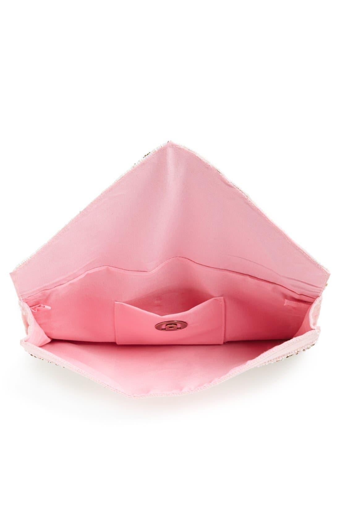 Geo Beaded Envelope Clutch,                             Alternate thumbnail 2, color,                             Pink Multi