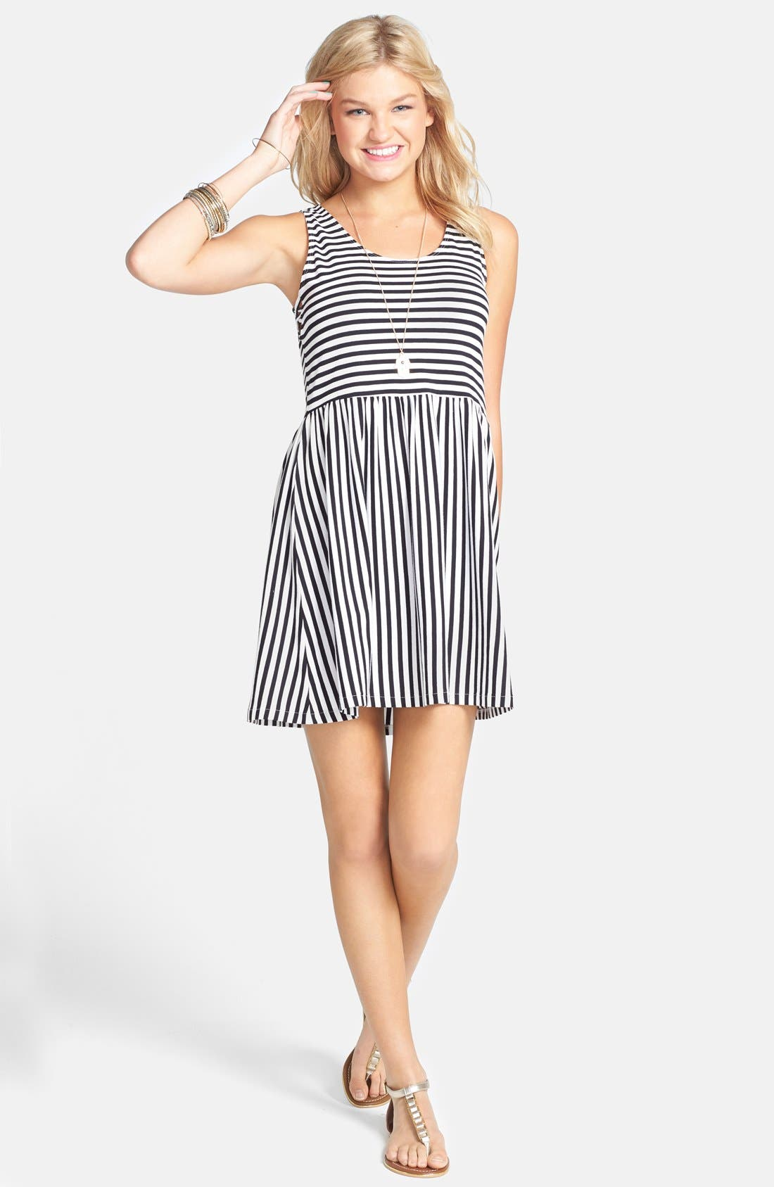 Alternate Image 1 Selected - Billabong 'Early Sunshine' Stripe Skater Dress (Juniors)