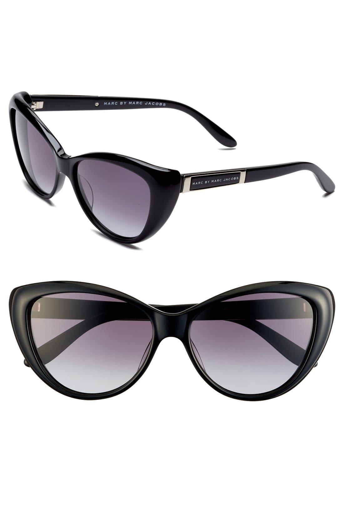 56mm Cat Eye Sunglasses,                         Main,                         color, Shiny Black/ Grey Gradient