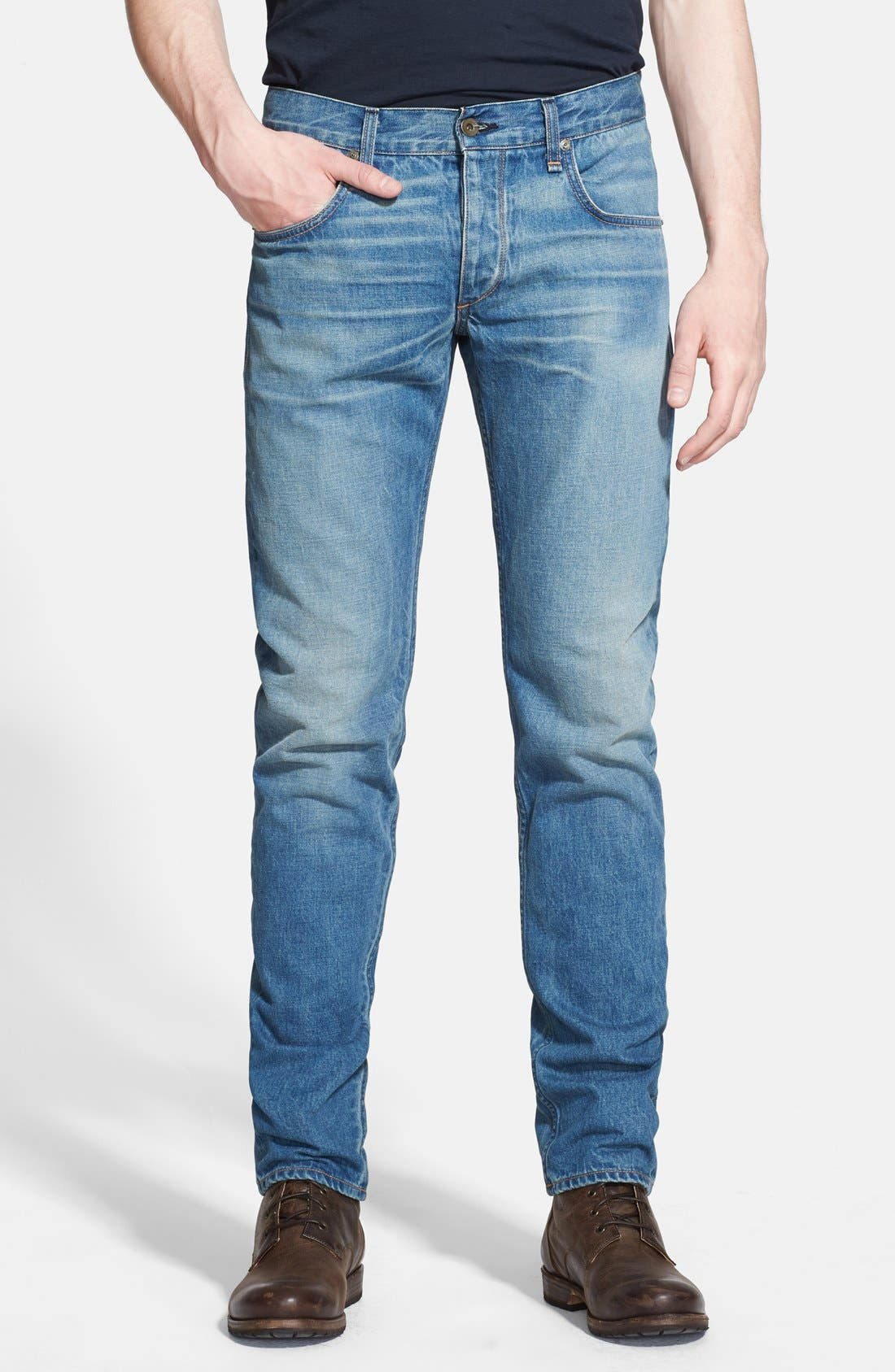 Alternate Image 1 Selected - rag & bone 'RB23X' Slim Fit Jeans (Coastline Blue)