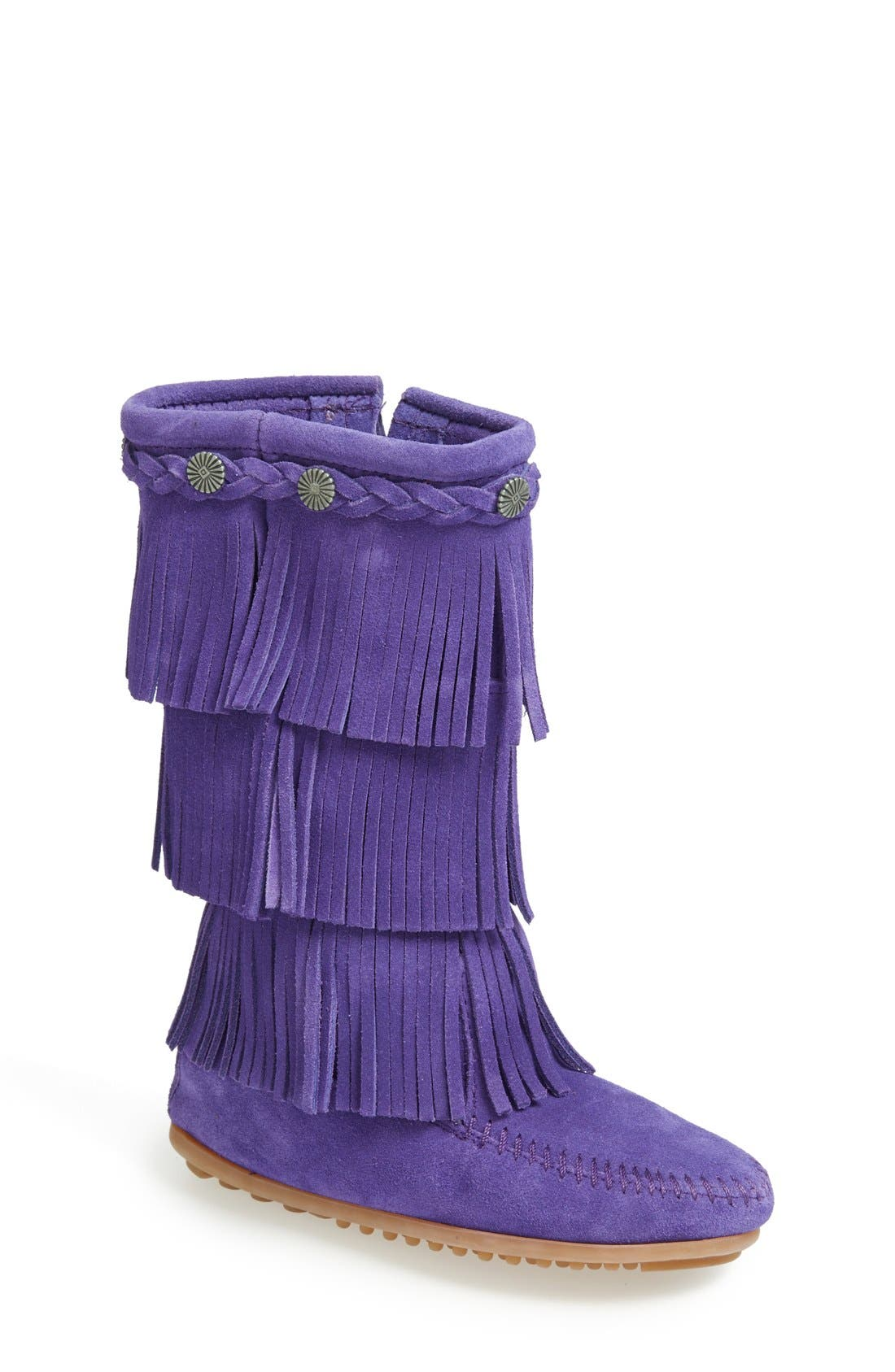 Three-Layer Fringe Boot,                             Main thumbnail 1, color,                             Purple