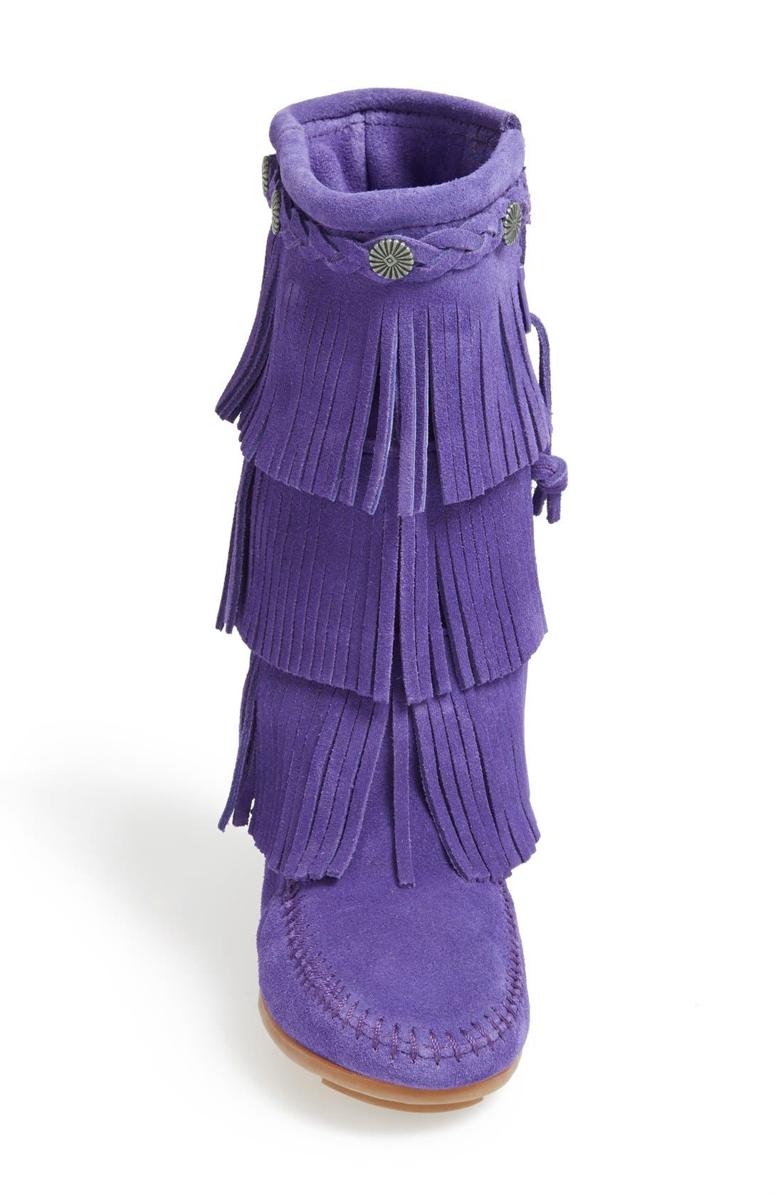 Three-Layer Fringe Boot,                             Alternate thumbnail 3, color,                             Purple