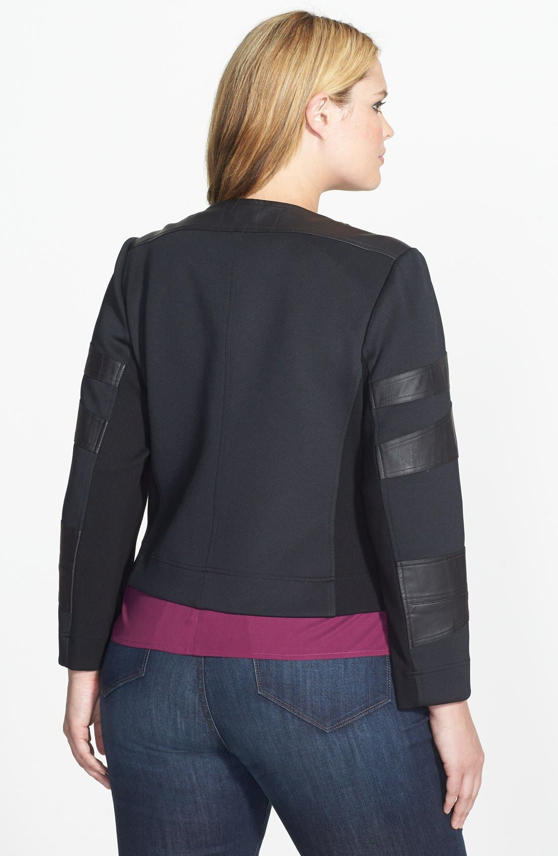 Alternate Image 2  - Two by Vince Camuto Collarless Mixed Media Moto Jacket (Plus Size)