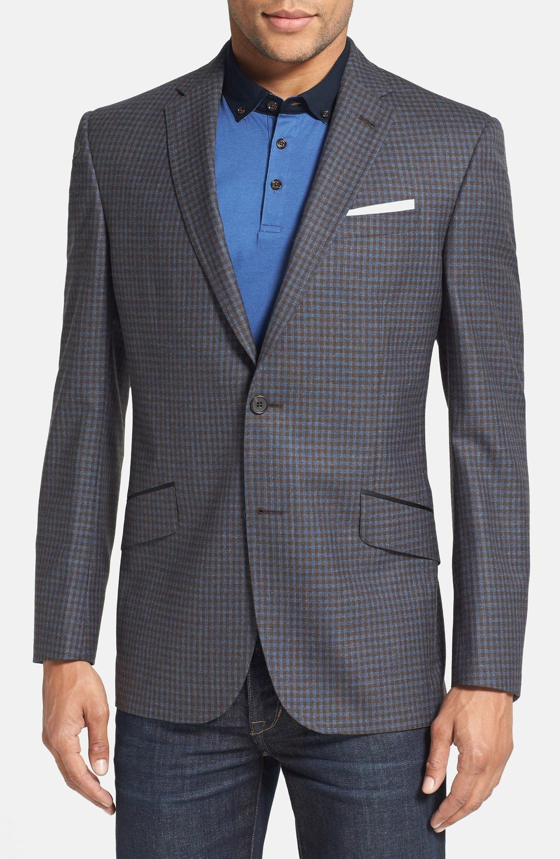 Main Image - Ted Baker London 'Jerry' Trim Fit Check Sport Coat (Online Only)