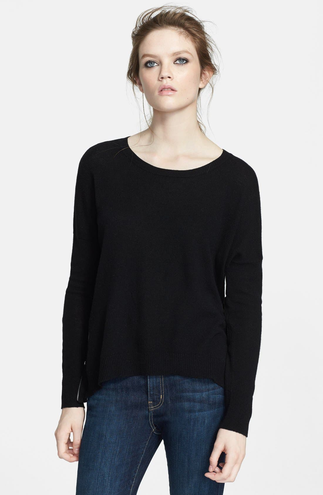 High/Low Cashmere Sweater,                             Alternate thumbnail 4, color,                             Black