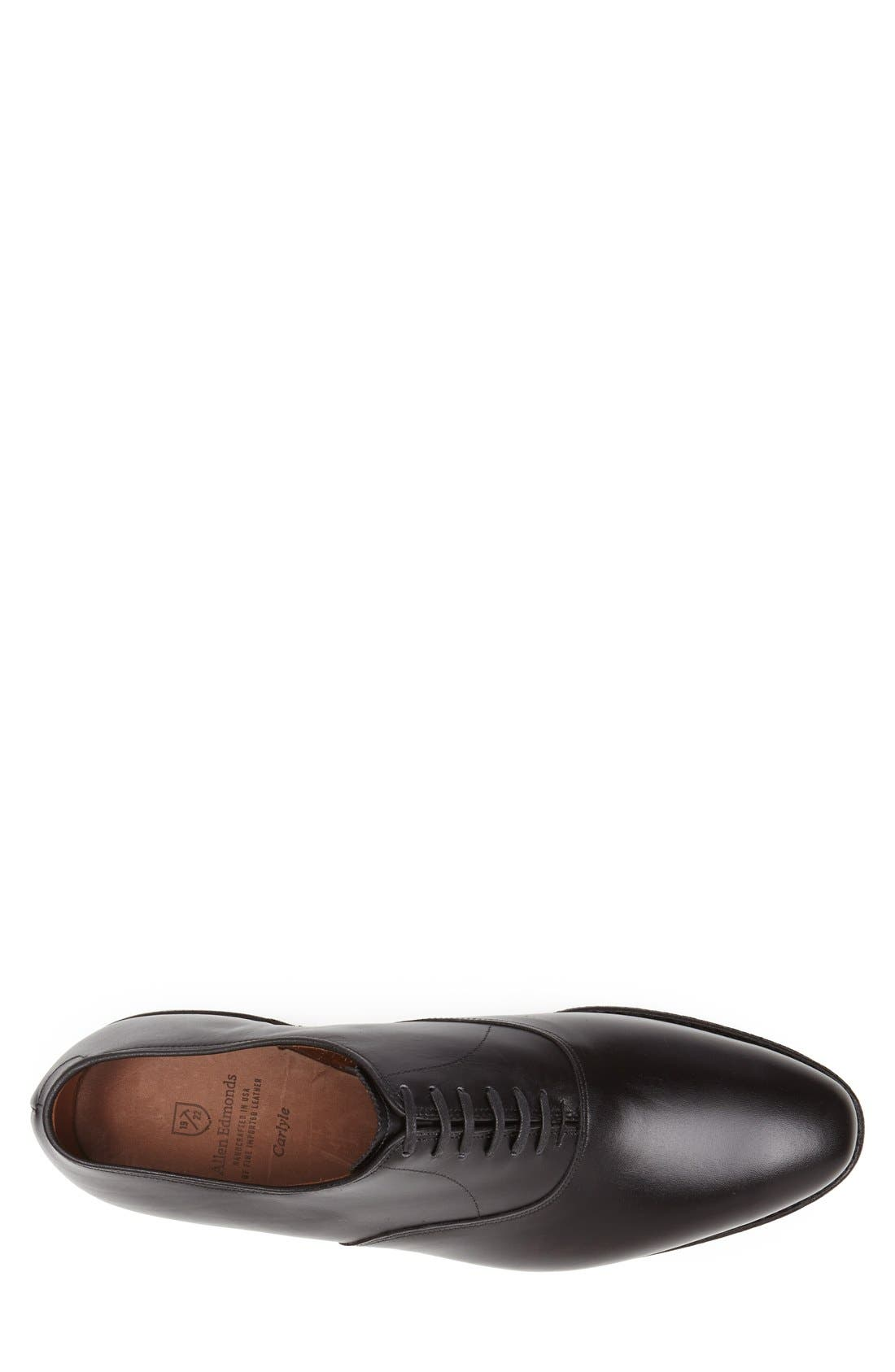 Carlyle Plain Toe Oxford,                             Alternate thumbnail 3, color,                             Black Leather