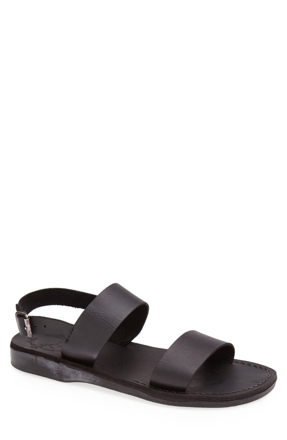 'Golan' Leather Sandal,                             Main thumbnail 1, color,                             Black