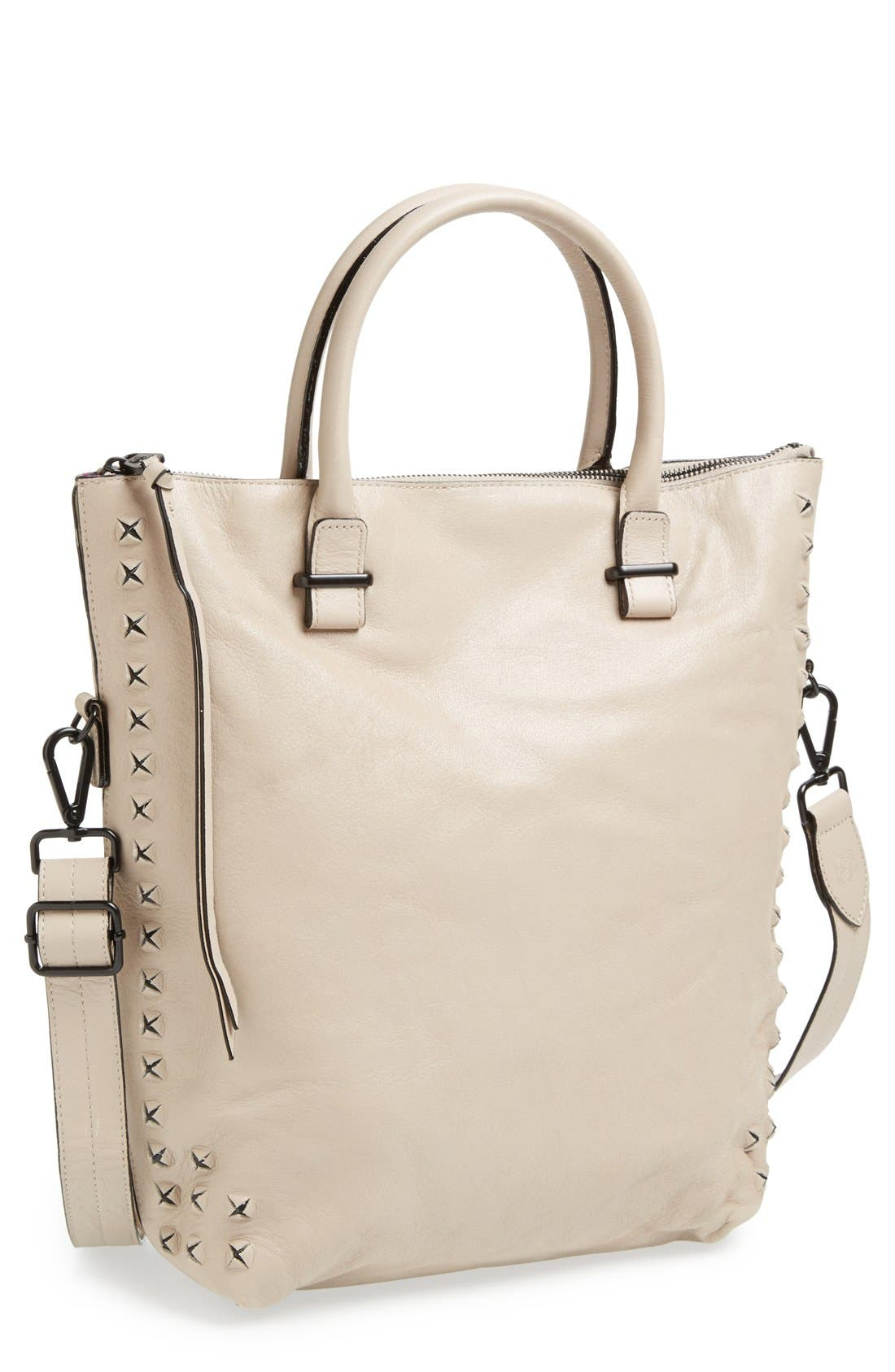 'Medium Maia' Leather Foldover Tote,                         Main,                         color, Pyramid Mist