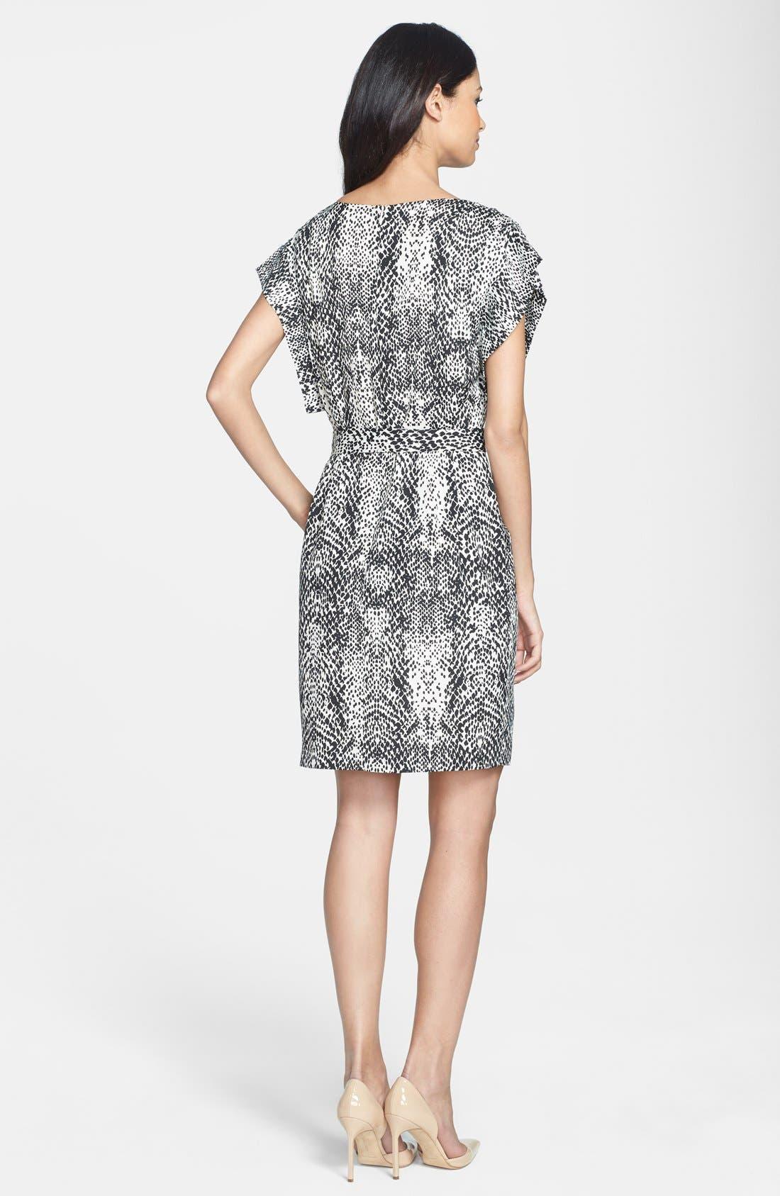 Alternate Image 2  - Eliza J Print Belted Crêpe de Chine Shift Dress (Regular & Petite)